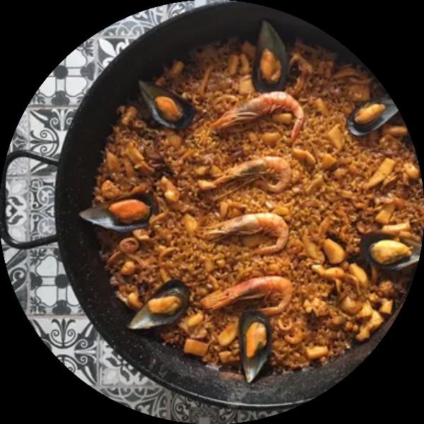 paella cooking class: seafood paella